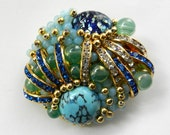 1970s spectacular Art Glass cabochons and rhinestones brooch - light and elegance -art.768/3-