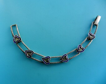 Lovely 1960s  hearts link  Bracelet  - Gorgeous great Italian bracelet - Silver 800 and blue cobalt enamel -- Art.657/3-