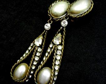 1950s Appealing dark golden ribbon Dangling Earrings - silver gray pearls and ribbon crystals Italian fashion - Art.728/3 --