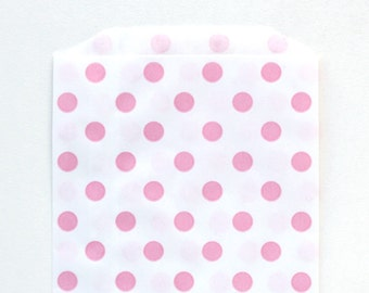 Light Pink Dot Favor Bags (20) - Pastel Pink Polka Dot Bags, Pink Party Favor Bags, Valentine's Day