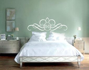 Headboard Monogram - Personalized Custom Bedroom Wall Decals