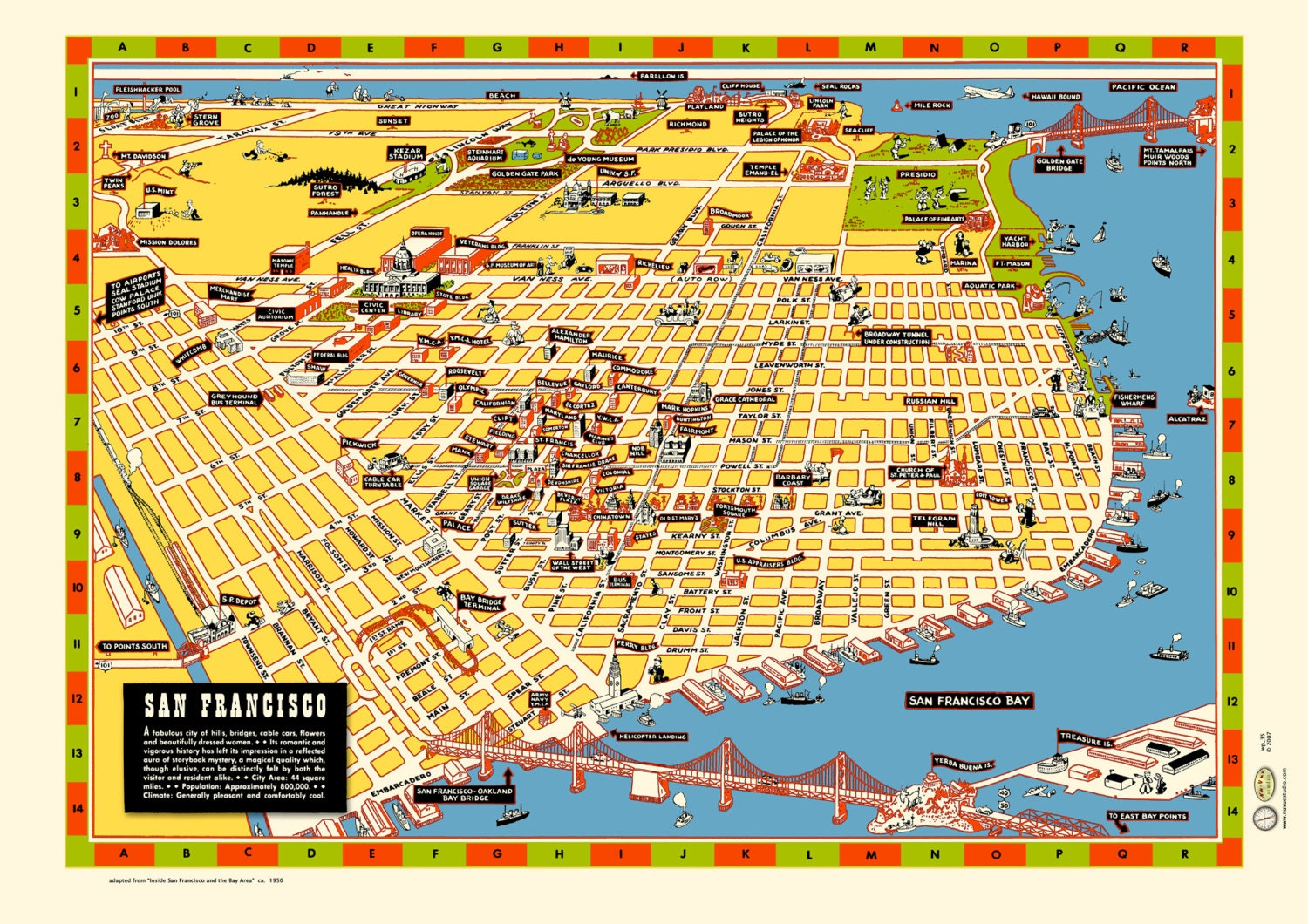 san francisco illustr carte des ann es 1940 affiche vintage. Black Bedroom Furniture Sets. Home Design Ideas