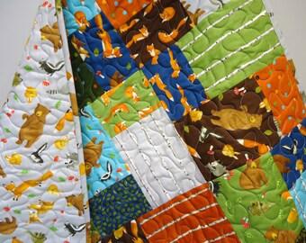 Baby Boy Quilt-Forest Friends-Modern Patchwork Crib Bedding-Woodland Animals-Fox-Deer-Skunk-Raccoon-Bear Baby Blanket