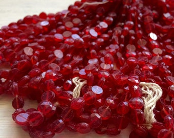 Vintage Glass nailhead beads round Crimson Red 5 mm faceted doll buttons