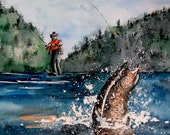 """Watercolor Print Limited Edition-""""Fly Fishing"""""""