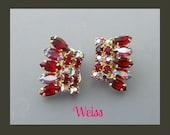 Vintage Weiss Rhinestone Earrings, Red Rhinestone Earrings, Red Earrings