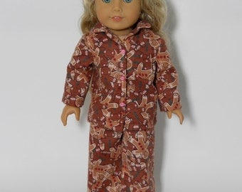 18 inch doll clothes pajamas made to fit dolls such as american girl®, doll pajamas, Gingerbread Men Christmas Pajamas, 11-0627