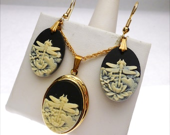 Dragonfly Faux Cameo Locket and Earring Set
