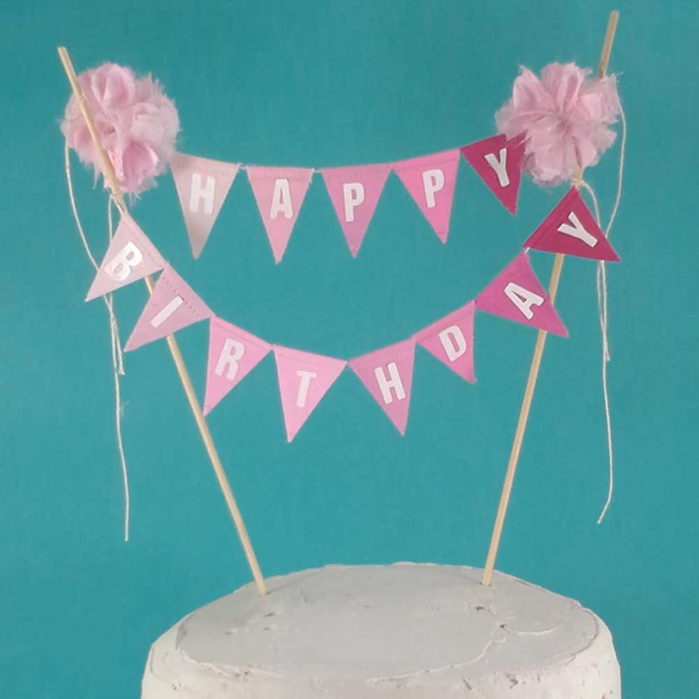 Birthday Cake banner Pink Ombre Happy birthday cake bunting topper