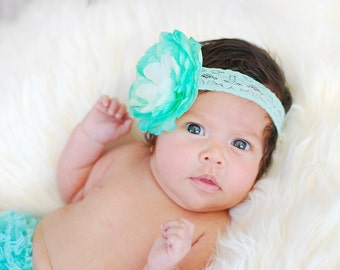 MINT Two Toned Ruffle Ranunculus LACE Flower Band