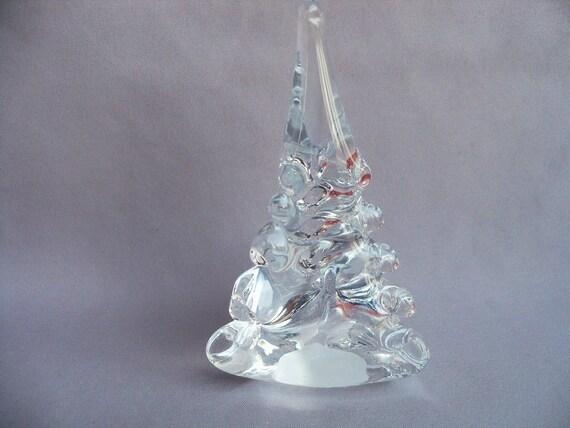 Hand blown art glass christmas tree small