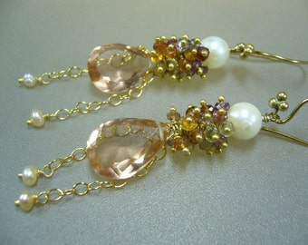 Morganite Quartz Umbra Sapphire Akoya Pearl Gold Wire Wrapped Cluster Earrings