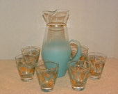 Vintage Aqua Turquoise Cocktail set -- Clear Glass with Frosted Aqua and Gold band Bar Pitcher and set of 6 Glasses with Pine cone Design