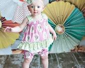 Baby girl one piece Romper  in ....Pink Rose....Sizes 3 months thru 4T