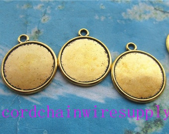 50pcs 25mm antiqued gold round picture/photo frame charms/pendants(fit 22mm cabochon)
