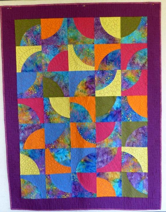 purple batik DP funky modern baby quilt wall hanging