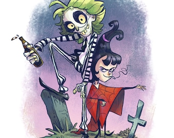 Beetlejuice and Lydia | 8x10 Fine Art Print | 90s TV Show Tribute Fan Art Lydia Dietz and Beetlejuice | Flimflammery