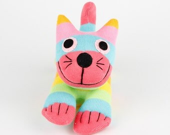 Handmade Sock Cheshire Cat Kitty Stuffed Animal Baby Girls Toy Christmas Gift