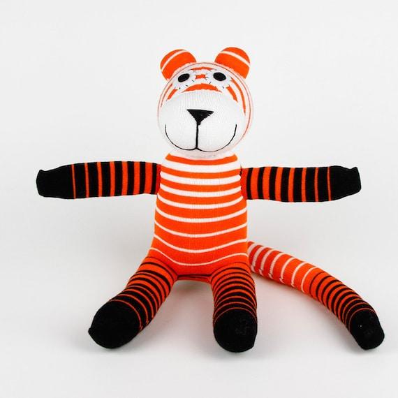 Birthday Gift Handmade Orange Striped Sock Tiger Stuffed Animal Doll Baby Toys New Year Gift