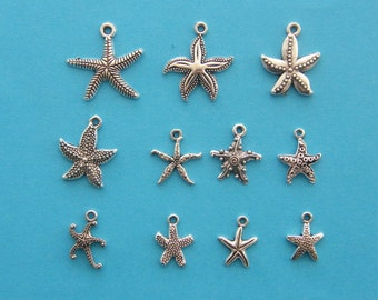 The Starfish Charms Collection - 11 different antique silver tone charms