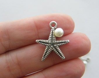6 Starfish charms antique silver tone FF198