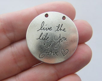 BULK 10 Live the life you love charms antique silver tone M270