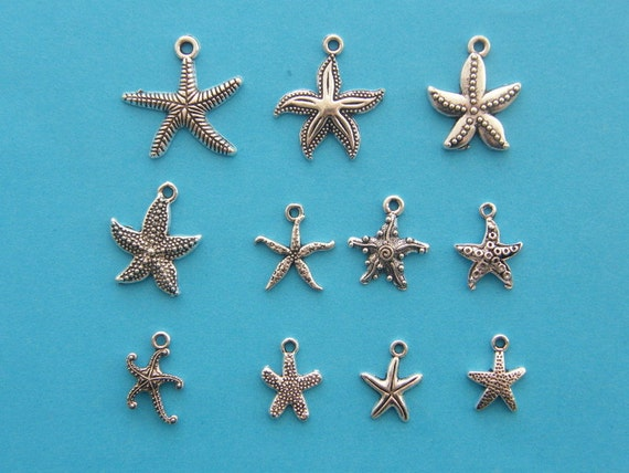 The Starfish or Sea Stars Charms Collection - 11 different antique silver tone charms