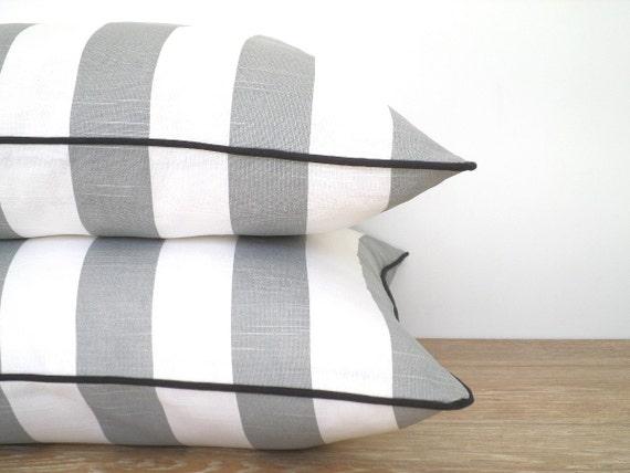 grau gestreiften sofakissen grauen und wei en kissen mit biese moderne werfen kissen. Black Bedroom Furniture Sets. Home Design Ideas