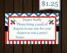 Airplane Transportation Baby Shower Diaper Raffle ticket baby shower diaper raffle INSTANT DOWNLOAD
