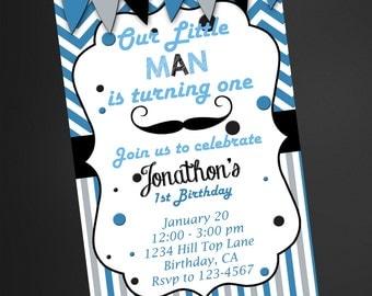 Mustache Little Man Invitation, 1st Birthday Invitation, Boys Birthday Invitation, Little Man 1st Birthday