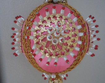 Handmade Vintage Pink Christmas Ornament