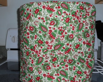 Quilted stand mixer cover - reversible, red, green and white print