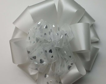 Wedding Pew Bows White Sheer Ribbon with Silver Hearts over White Acetate Satin Hand Tied