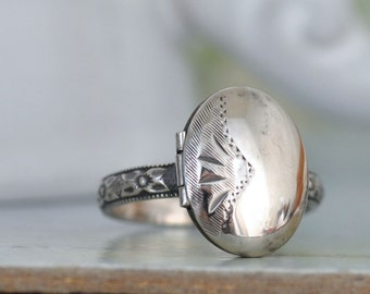STERLING LOCKET RING hand made floral band oxidized sterling silver ring with miniature locket