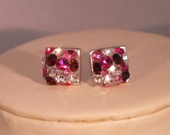 Square Silver Stud Earrings with Pink Preciosa Crystal Chatons in Crystal Clay