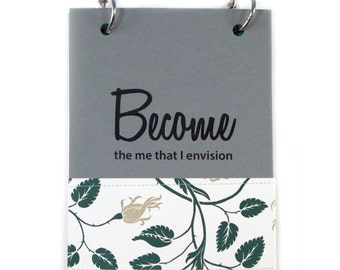 "Diary for Finding Your Authentic Self, Follow Your Dreams Journal, Self Discovery Journal ""Become"" in Slate Gray"