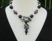 "Bubbly Black/White/Red, Glass ""Jatim"" Evil Eye Bead, Pyrene Shells, Glass Lampwork Beads, Necklace Set by SandraDesigns"