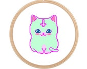 Holiday Sale* Hipster Cat - Cross Stitch PATTERN