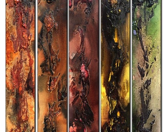 Original Textured Abstract painting Contemporary Multipanel Fine Art by Henry Parsinia Large 36 x 40