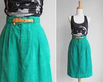 Vintage High Waisted Pleated Corduroy Teal Skirt- Blue Green Fitted Skirt, Knee Lenght- Size Small
