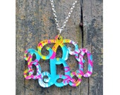 Monogram Acrylic Necklace - Patterned Collection - Acrylic Monogram Jewelry - Bridesmaid Gifts - Vine or Circle Font