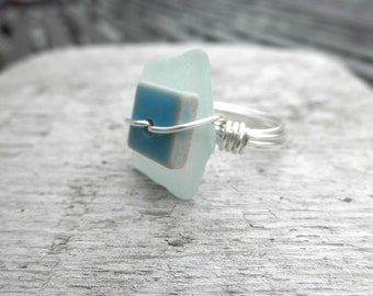 Glass and Tile Ring Lake Erie Beach Glass size 8.5