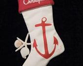 "Anchor Christmas stocking 24"" (61cm) nautical marine coastal ocean skipper captain yachting boating sailing red Crabby Chris Original"
