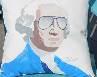 """Outdoor pillow GEORGE WASHINGTON 20"""" (50cm) first U.S. President Father of Our Country patriot American Revolution Mt. Rushmore Crabby Chris"""