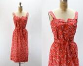 Vintage Bandana Print Dress - NOS Serbin Label NWOT - Red Bandana - Cowgirl Pin-up