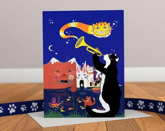 Jazz Cats Greeting Card - Crazy Cats - Seaside Card - Fantasy Card - Childrens Card - Cat Card