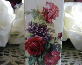 Tiny Square Ceramic Vase Adorned with a Bright Pink & Purple Rose Bouquet
