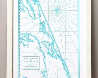 Outer Banks, Letterpress Printed Map (Sapphire)