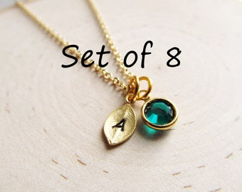 Personalized Bridesmaids Gifts, Set of 8 Necklaces, Gold Initial Birthstone Necklace, Personalized Necklace, Tiny Initial Necklace, Bridal