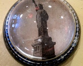 Antique Glass Photo Paperweight - Statue of Liberty